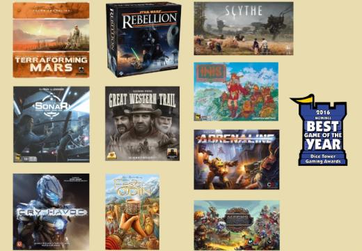 Jaké hry získaly nominaci na cenu Dice Tower 2016