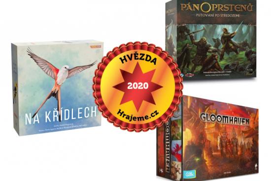 Hvězdami Hrajeme.cz 2020 jsou hry Gloomhaven, Na křídlech, Pán prstenů: Putování po Středozemi