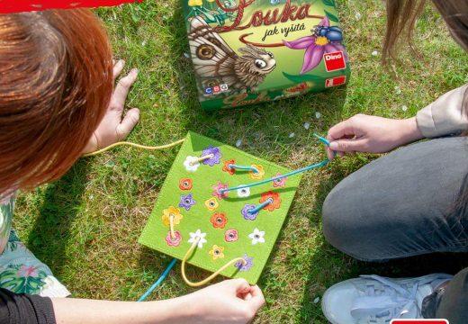 Louka jak vyšitá je hra s tkaničkami